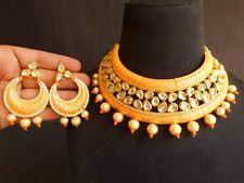 Traditional Amrapali Rajshthani Kundan Meena Enamel White Pearl Beads Necklace