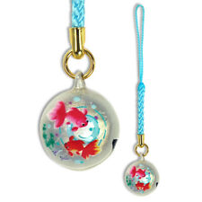 Japanese Netsuke Phone Keychain Charm Round Pink Red Goldfish Bell Made in Japan