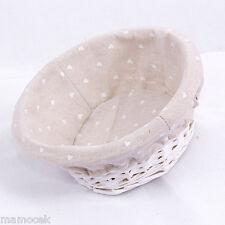 CESTO CESTINO VIMINI bianco foderato CUORI cm.25 h10 portapane confezioni shabby
