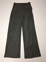 Express Pants Wide Leg High Rise Size 0 Inseam 32 Black Gray Wool Blend NWT $79