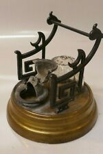Antique Victorian Bronze & Glass Inkwell With Pen Holder