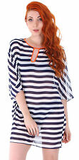 Women's Orange Neck Black White Stripe Bikin Cover-ups Beachwear