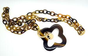 camilieri Horn Halskette Kette natur braun Hornkette  mit Anhänger NEU