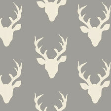 Art Gallery ~ Buck Forest Mist KNIT Jersey Fabric / dressmaking stag deer grey