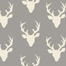 Art Gallery ~ Buck Forest Mist KNIT Jersey Fabric / dressmaking stag deer grey