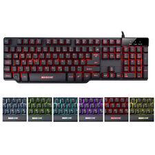 Deutsch Gaming Tastatur 7 farbige beleuchtet  LED Tastatur USB Gamer Keyboard PC