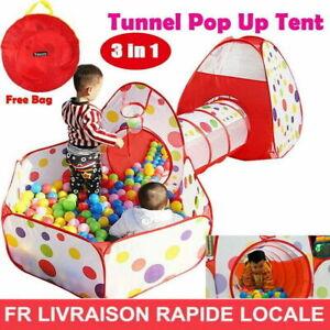 Enfants Bébé Surgissant Tente 3 Pièce Set Jeu Maison & Tunnel Balle Fosse