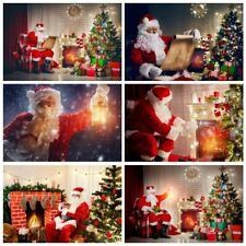 Santa Claus Backpack Gift Clock Photo Backdrops Props Photography Background