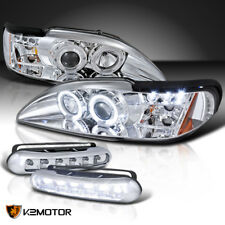 94-98 Mustang Chrome Halo Projector Headlights+Running Daytime Fog Lamps