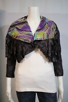 NEW Lulumari Misses LARGE Purple Lace Up Fringe Wide Collar Open Shrug Jacket