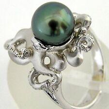 925 Silver Ring Green Pearl Animal Octopus Women Men Wedding Engagement Size6-10