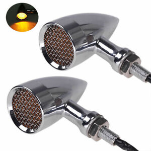 2x Motorcycle Metal Turn Signal Indicator Light For Harley Chopper Cafe Racer