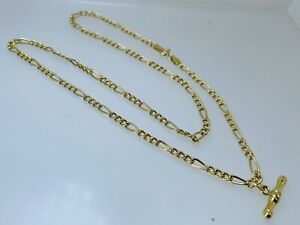 """9ct Gold Figaro Flat Curb Chain Necklace 18 1/4"""" 3.5g 3mm T Bar Charm Bolt Ring"""