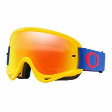 Oakley O Frame MX Motorcross Goggles Yellow Blue Fire Iridium & Clear Lens