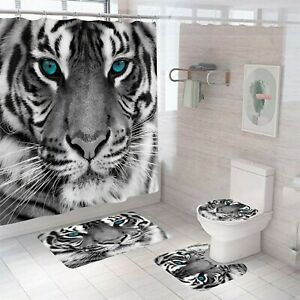 Tiger Fabric Shower Curtain Bathroom Rug Bath Mat Non-Slip Toilet Lid Cover