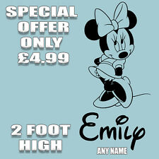 PERSONALISED MINNIE MOUSE WALL STICKERS KIDS WALL ART DECALS BEDROOM 2ft