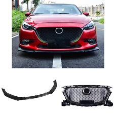 For Mazda 3 Axela 2017 2018 ABS Front Grill Upper Grille + Spoiler Black DN