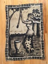 African Mud-cloth Painting/Wall Hanging - In the Village 35.75x25