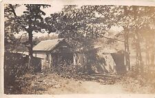 MEREDITH NEW HAMPSHIRE PSTMK CABINS IN WOODS ON LAKE REAL PHOTO POSTCARD 1908