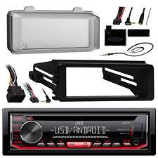 KDR490 JVC CD Radio, Harley 98-13 FLHT Install Adapter Kit, Radio Cover, Antenna