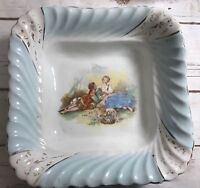 Vintage - Square Bowl/ Dish Scalloped -Lovers Courting