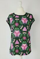TED BAKER Floral Digital Print Pink Black T Shirt Top Size 2 UK 10