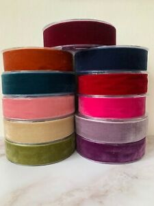 French High Density 38mm Velvet Ribbon Wedding Sewing Belt Vintage Colours -1mtr