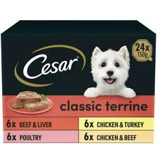 More details for 24 x 150g cesar classics dog food trays mixed selection in terrine