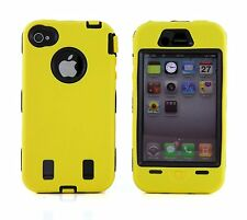 for iPhone 4 4G 4S Yellow & Black Impact Armor Hard & Soft Rubber Case Cover
