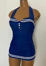 Hot Topic Women's Size S Blue Swimsuit One Piece Rockabilly Retro Sailor