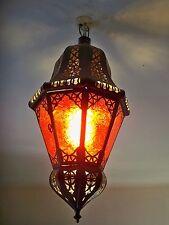 Lustre Marocain fert forgé lampe lanterne plafonnier applique luminaire rouge