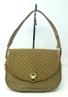 Vintage Gucci Micro GG Canvas Beige Leather Shoulder Hand Bag Italy Authentic