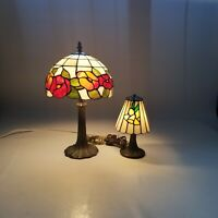 Lot Of 2 Vintage Tiffany Style Colored Stain Glass Table Parlor Lamps