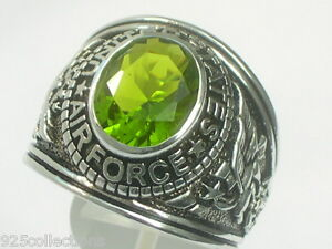 Sterling Silver United State Air Force Military August Peridot Men Ring Size 10