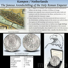 1576-1612 NETHERLANDS Arendschilling Medieval Silver Coin in Box Kampen Holland