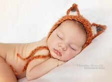 Fantastic Fluffy Fox Bonnet hat. Photography Photo prop. Newborn. Baby shower