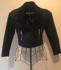 Bebe Cropped Faux Leather Jacket Black Size Sm Originally $149 NWT