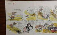"""Disney Studios Original Comic Strip Drawing of """"SCAMP"""" 5/28/78 by Bill Berg"""