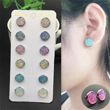 6pairs Crystal Round Stud Earrings Colorful Sparkly Rhinestone Natural Stone