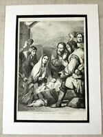 1856 Antique Print The Adoration of the Infant Christ Jesus Painting Spagnoletto