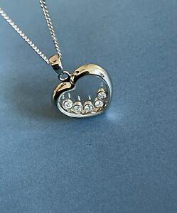 9ct White Gold Diamond Necklace 0.25ct Floating Diamond Heart Pendant Chain