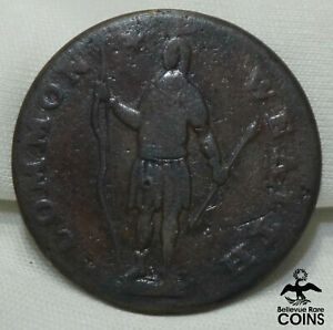 1788 US Post-Colonial, Massachusetts One Cent Copper Coin, Native w/Bow