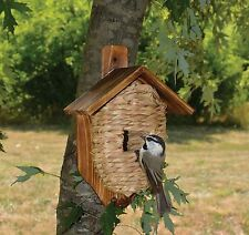 Bird house Post Mounted Grass Organic  Roosting Pocket w/ Roof  Birdhouse SE934