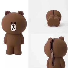 2018 Cute 3D Brown Bear Soft Silicone Pen Purse Pencil Case Cosmetics Makeup Bag