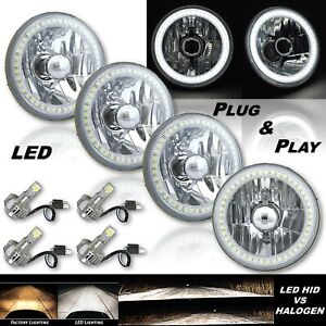 "5-3/4"" White SMD LED Halo Angel Eye Crystal Headlight & 6k LED Bulb Set of 4"