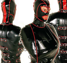latex Rubber Catsuit Hood Tied coat Tied up Bodysuit Masquerade Suit SizeXXS-XXL