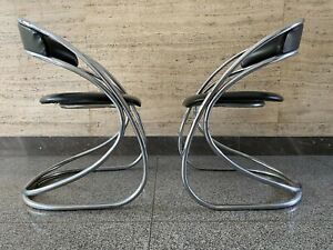 Vintage Chair Tubular Dining Mid Century Space Age Chrome Bauhaus Style Design