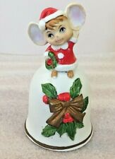 "Vintage Christmas Mouse holding wreath ceramic Bell 4.5""H"