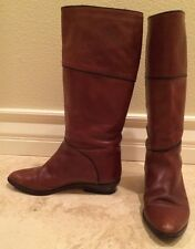 Vtg 80's ITALIAN Brown Black Leather Equestrian English Riding Boots Sz 7.5M 38