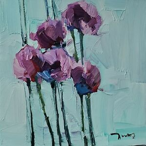 JOSE TRUJILLO Oil Painting IMPRESSIONISM Contemporary COLLECTIBLE FLOWERS PURPLE